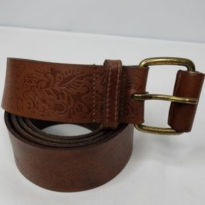 Brown Leather Belt Embossed Design Size XL. 49 in